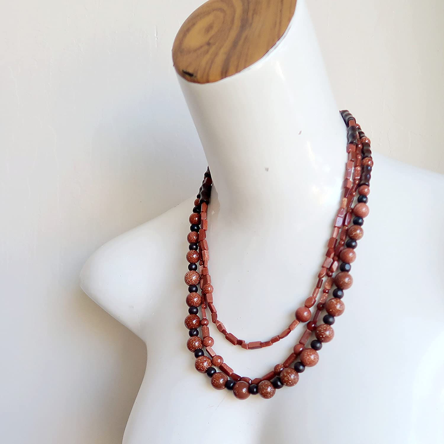 SatinCrystals Goldstone Necklace 18 Specialty Triple Strand Glittering Beaded Brown Wood Handmade in USA Multi-Layer S01