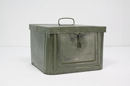 Caja Metálica Decorativa Estilo Industrial Vintage color Verde Militar ...