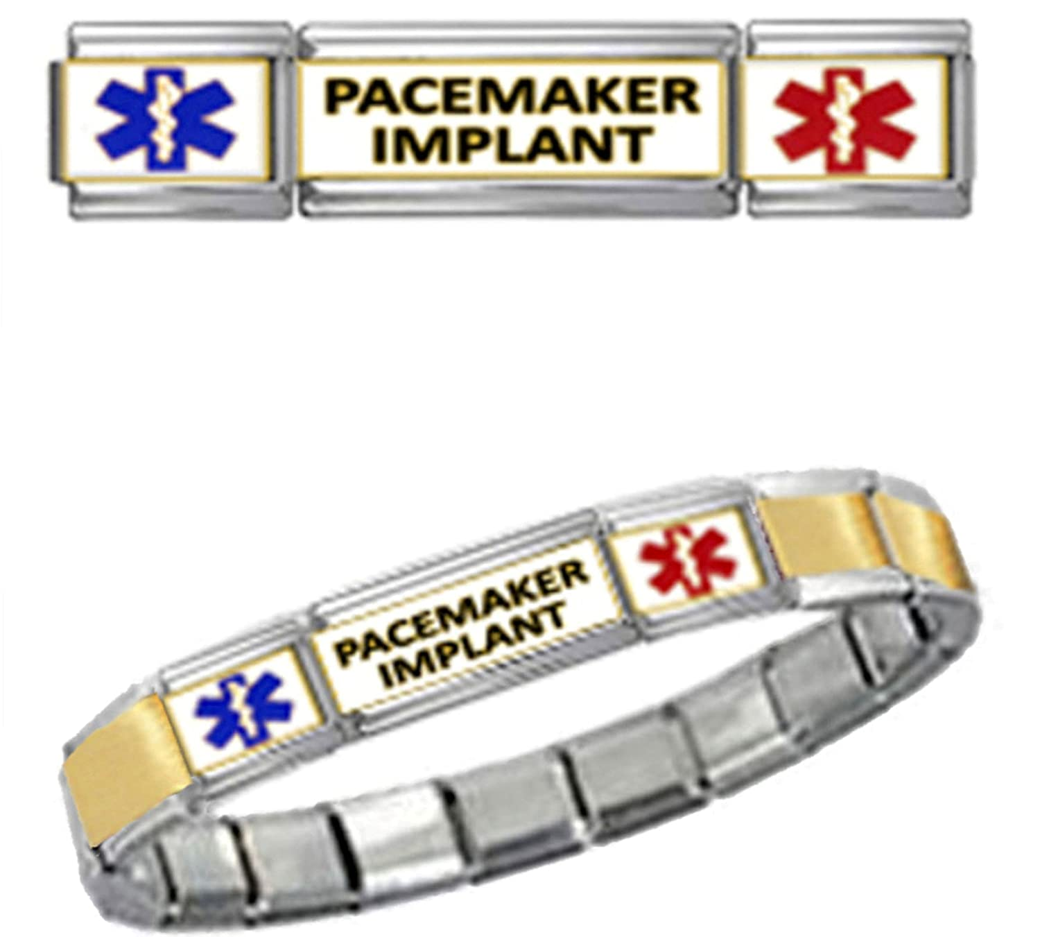 discount PACEMAKER IMPLANT MEDICAL ALERT ID 9mm Italian Charm GOLD TONE CENTER MATTE BRUSHED Starter Bracelet for sale
