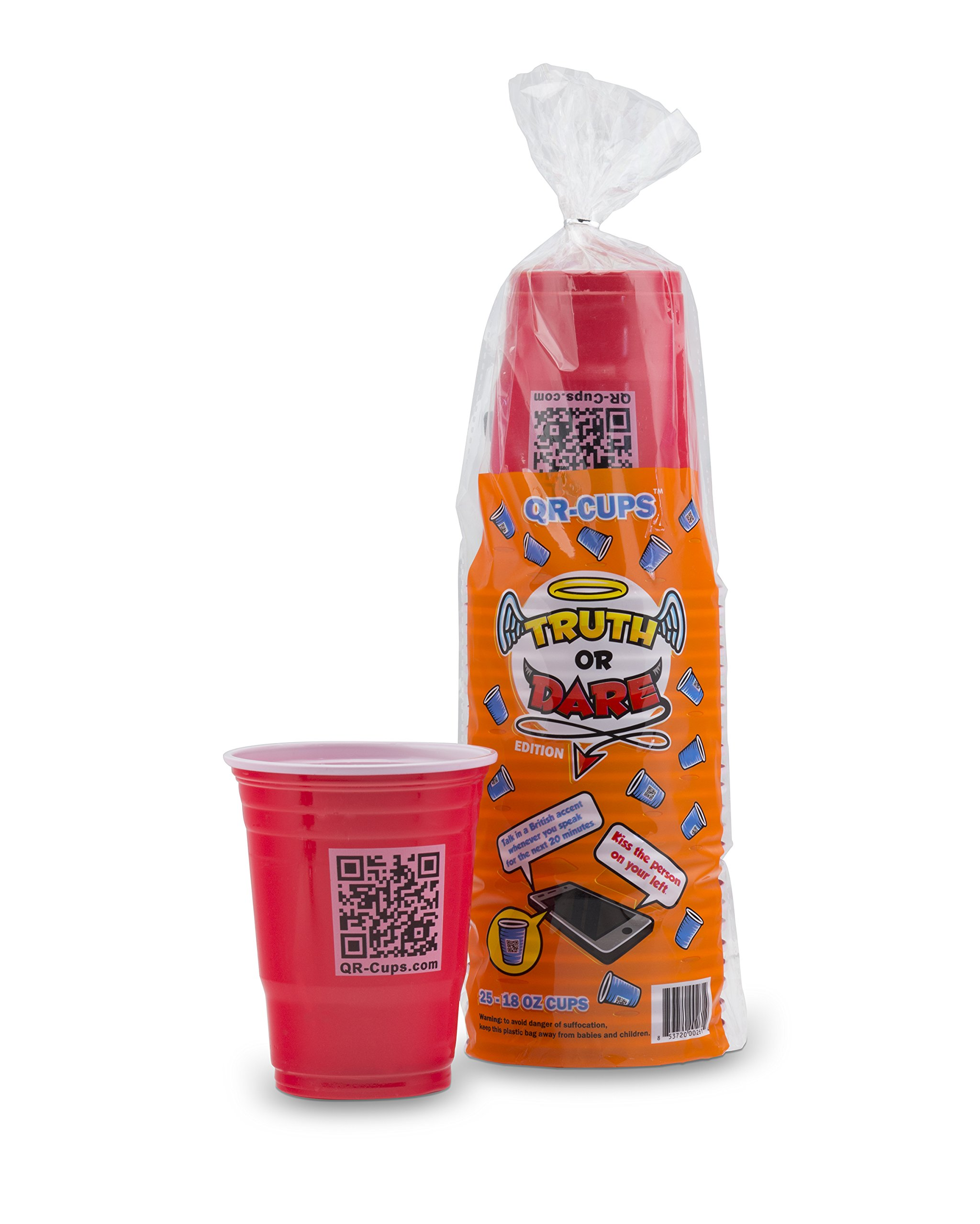Convenient Gadgets & Gifts QR-Cups, Truth or Dare Edition: Drinking Party Games for Adults, a Great Addition for Beer Pong - Play Truth or Dare Beer Pong