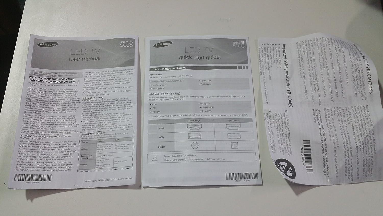 Samsung un48j5000 Manual (3pc) BN68 – 07485 un: Amazon.es: Electrónica