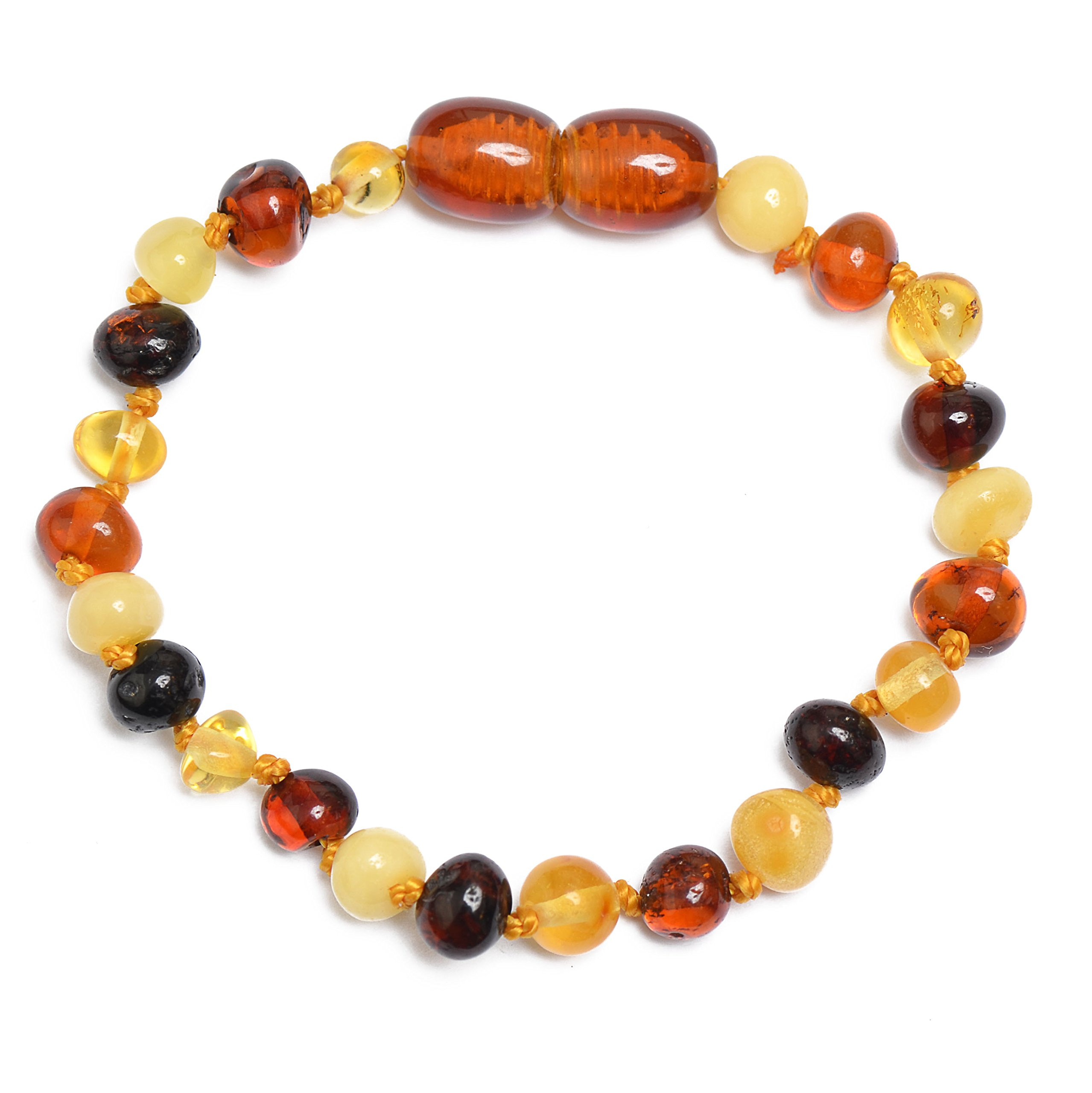 Polished Baltic Amber Teething Anklet - Bracelet for Baby - Safety Knotted - 5 different sizes and 4 different colors to choose (Mixed, 4.7)