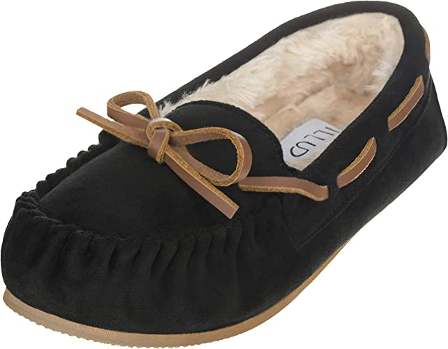 ILLUDE Women's Moccasin Slipper Vegan Suede Faux Fur Lined Indoor & Outdoor Moccasins Slip On Loafers Moccasins Shoes