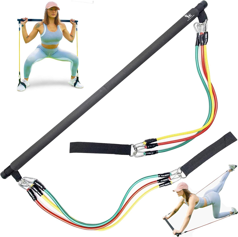 Tribu León Pilates Bar Resistance Bands Set | Exercise Bands for Men & Women | Home Gym Workout | Portable Exercise Equipment | Pilates Flexbands Set | Weights | Total Gym Equipment for Home | Fitness