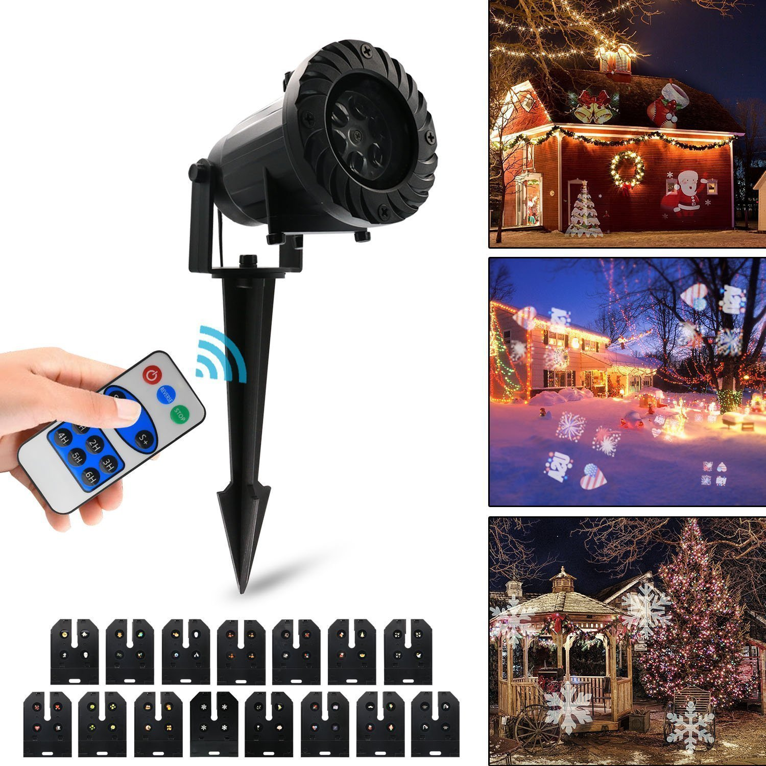 Vansky Led Projector Lights, Christmas Lights with RF Remote Control, 15 Slides Dynamic Lighting for Mother's Day,Birthday Party,Holiday Decoration,Wedding, Decoration