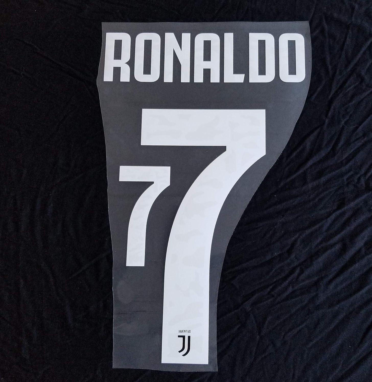 Amazon Com Patches Juventus 2019 2020 7 Cristiano Ronaldo Home Nameset Name Set Shirt Print Font 19 20 Away Clothing