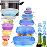 [13 Pack] longzon Silicone Stretch Lids, 7 Round and 6 Rectangular Flexible Magic Lids,Durable,Reusable Stretch Food Saving S