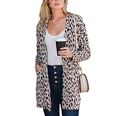 Amaryllis Apparel Women's Open Front Long Sleeve Loose Cut Two Pocket Knit Boyfriend Cardigan Sweater at Women's Clothing store