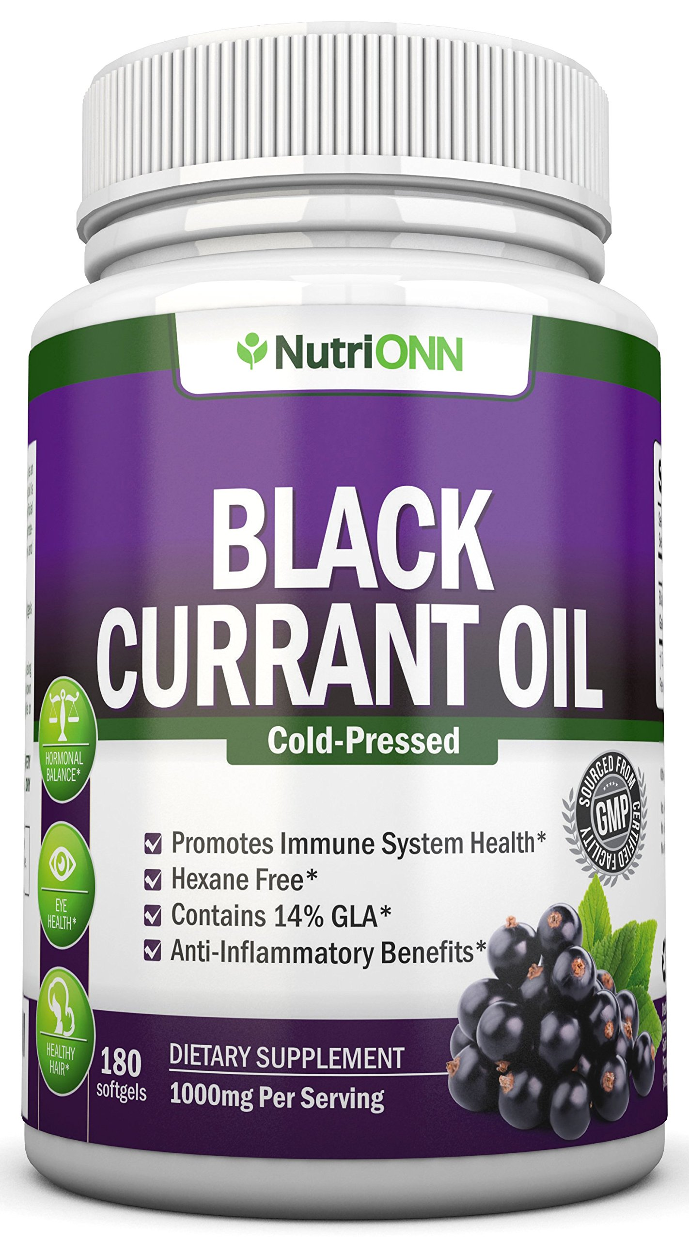 Black Currant Oil - 1000 Mg - 180 Softgels - Cold-Pressed Pure Black Currant Seed Oil - Hexane Free - 140mg GLA Per Serving - Regulates Hormonal Balance - Great For Immune System, Hair, Skin and Heart by NutriONN