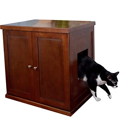 THE REFINED FELINE Cat Litter Box Enclosure Cabinet