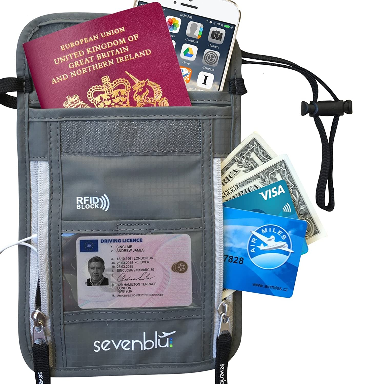 SevenBlu - RFID Premium Passport Holder and Travel Neck Wallet - Hidden and Secure (Gray)