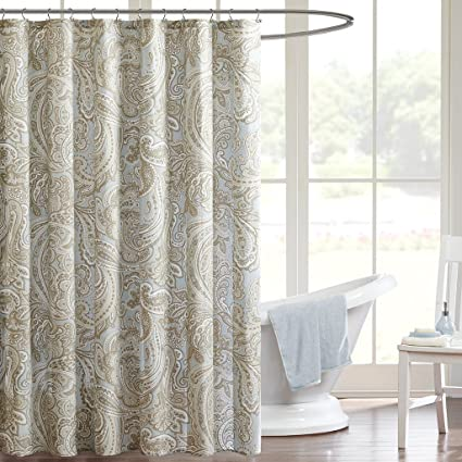 Madison Park Ronan Design Organic Cotton Fabric Long Shower Curtain Paisley Classic Curtains For