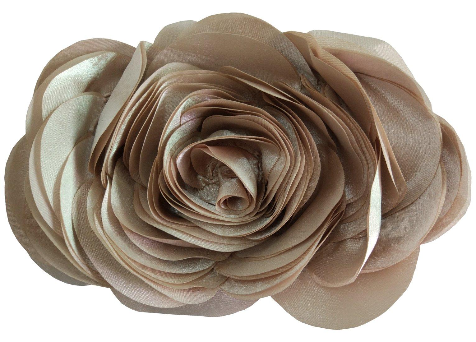 Bywen Womens Rose Pattern Purse Party Clutch Shoulder Bags Beige