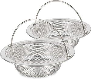 2 PCS Kitchen Sink Strainer Basket Catcher(With Handle), 4.33 inch Diameter Sink Drain Strainer, Stainless Steel Rust Free, Dishwasher Safe