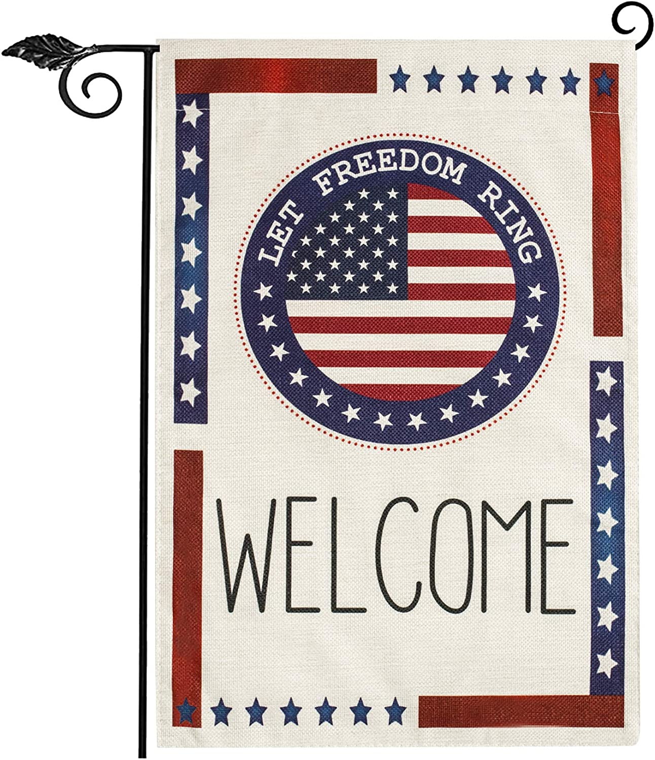 Unves Patriotic Garden Flag 12.5 X 18, Stars and Stripes 4th of July Flags, American USA Garden Flag Vertical Double Sided Burlap, Independence Day Welcome Garden Flag for Yard House Seasonal Decor