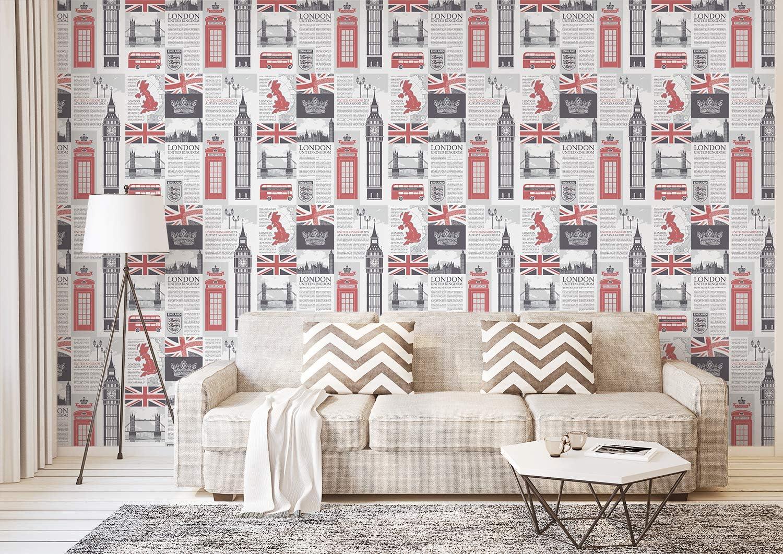 Amazing Wall Peel And Stick Wallpaper Uk Newspaper Self Adhesive Bedroom 500cm Amazon Com