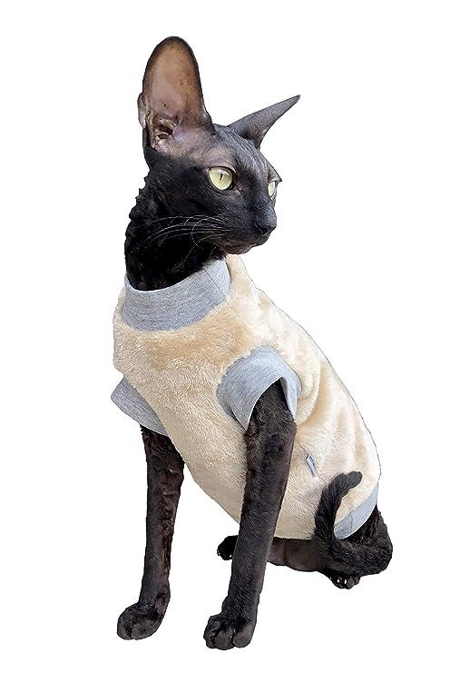 Kotomoda Ropa para Gatos Cuello Alto Beige Manto de Chimenea (M)