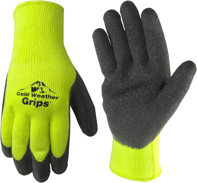Men's Cold Weather Hi Viz Work Gloves, Heavyweight Knit Shell, Latex Coating, X-Large (Wells Lamont 571YXL)