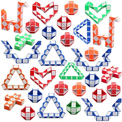 Yeetec 30 Pack 24 Blocks Magic Speed Cubes, Mini Snake Cube, Mini Plastic Puzzle Cube Toy for Kids Party Bag Fillers, Party Supplies, Random Color: Toys & Games