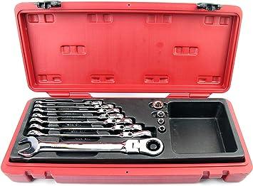 SENECA 8435353707474 Set Llaves fijas carraca Flexible de 8 10 12 13 15 16 17 y 19mm, Cierre rapido de 1 2 3 8 y 1/4, 1 Adaptador de Puntas Destornillador: Amazon.es: Bricolaje y herramientas
