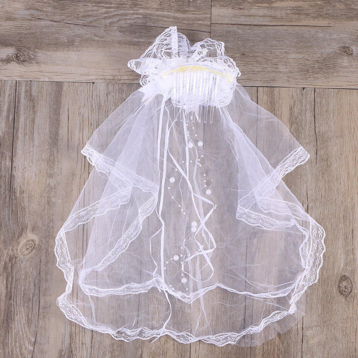 LUOEM Velo de Novia con Lazo de Encaje con Peine Disfraz de Novia Princesa para Niños (Blanco): Amazon.es: Ropa y accesorios