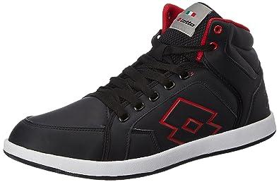 Lotto Men's Logo Plus Hi Black and Red Running Shoes - 10 UK/India (