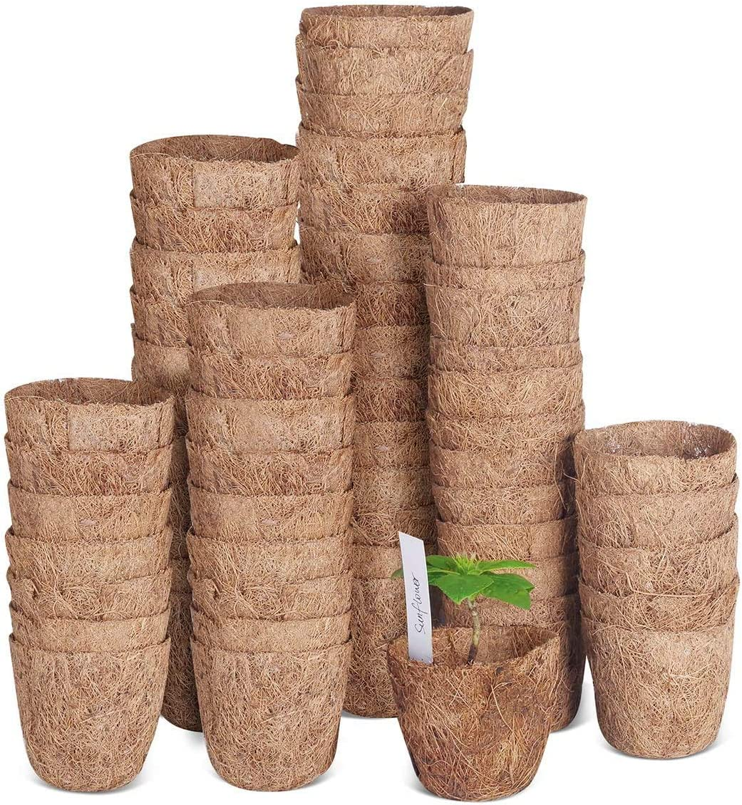 SOLIGT 60 Pack of 3 Coco Coir Seed Starter Pots, Sustainable & Biodegradable Pots Aternative to Peat Pots, Includes 20 Plastic Plant Markers