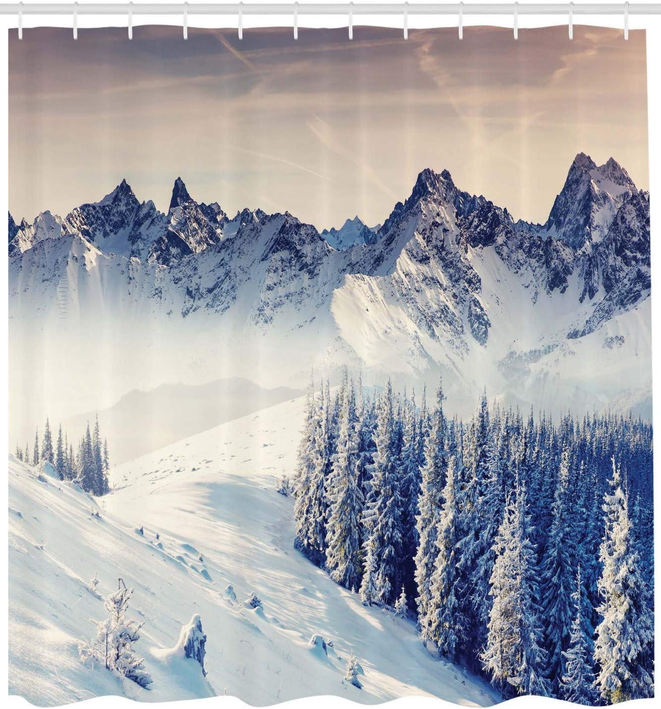 Blu Grigio Bianco ABAKUHAUS Natura Tenda da Doccia 175 x 180 cm Tessuto Set di Decorazioni per Il Bagno con Ganci Snowy Inverno Vista