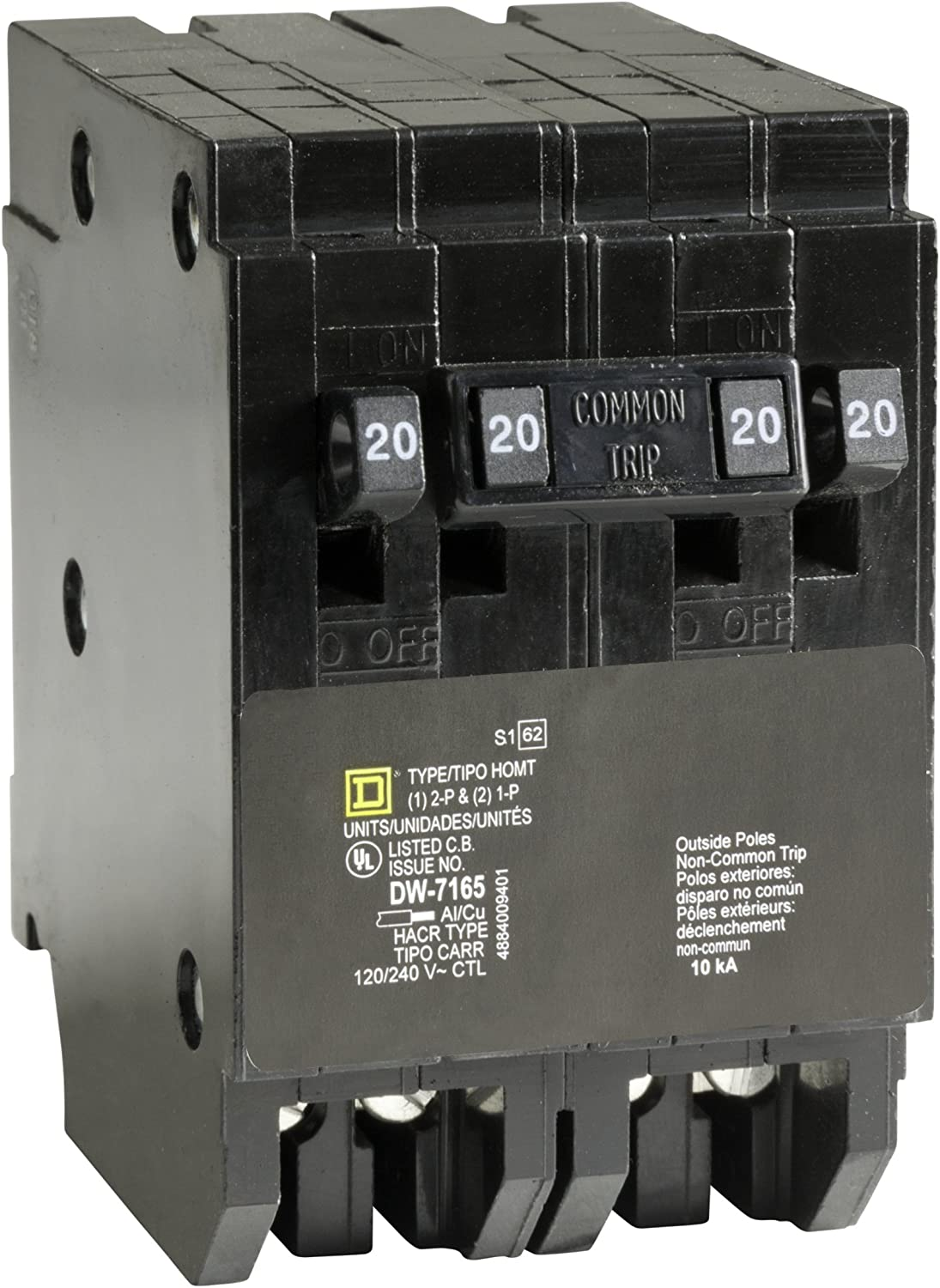 Square D by Schneider Electric HOMT2020220CP Homeline 2-20-Amp Single-Pole 1-20-Amp Two-Pole Quad Circuit Breaker