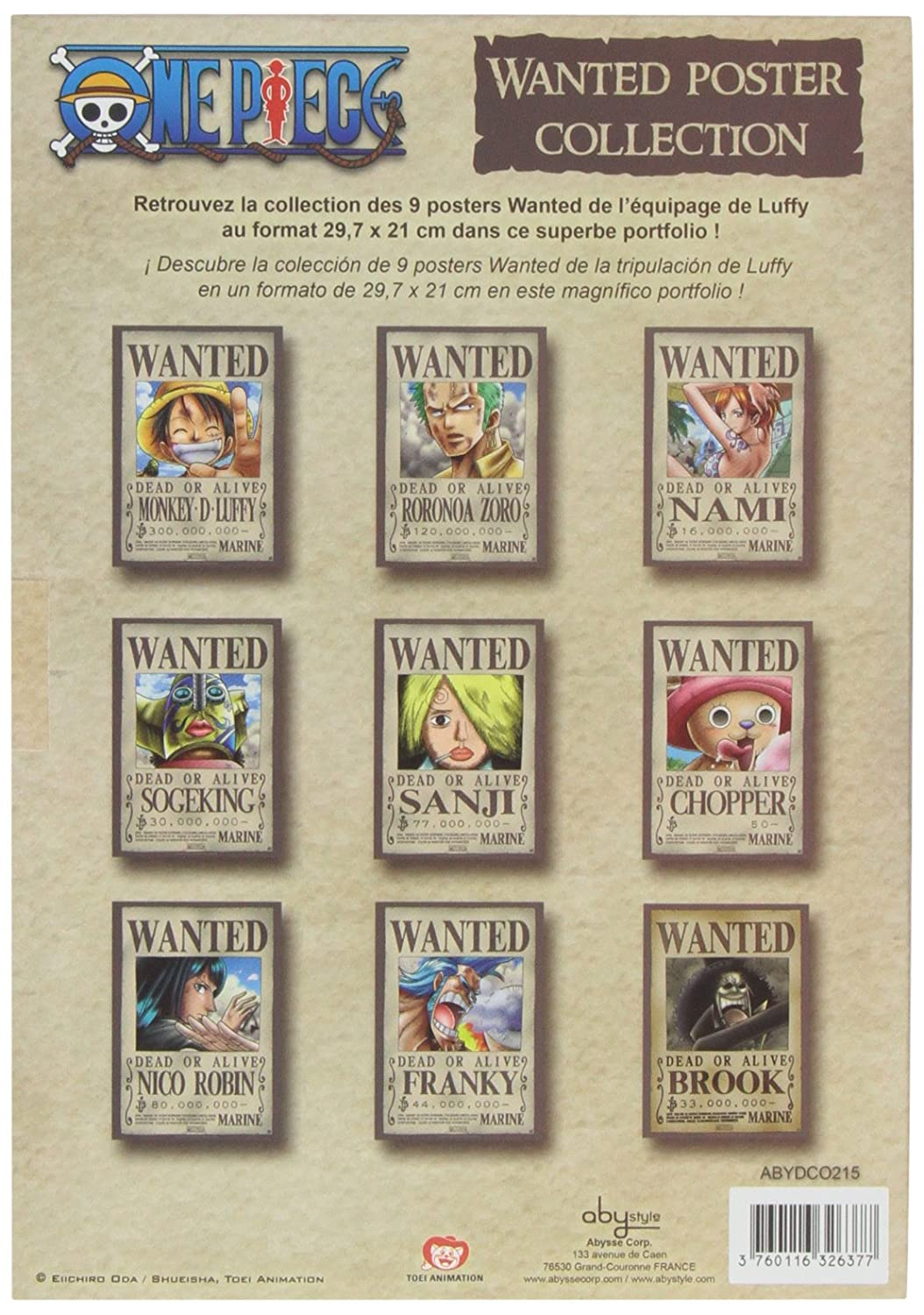 ABYstyle ABYDCO215 - One Piece Wanted, Juego de 9 pósters (21 x 29,7 cm)
