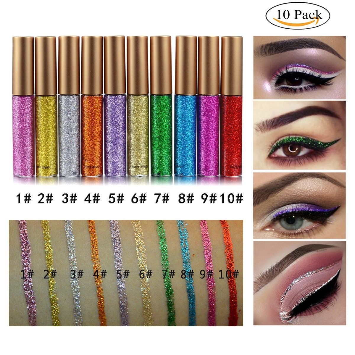 GARYOB Glitter Liquid Eyeliner,10 Colors Waterproof Sparkle Eyeliner Long Lasting Metallic Glitter Eyeliner Pen Shimmer Eye Shadow