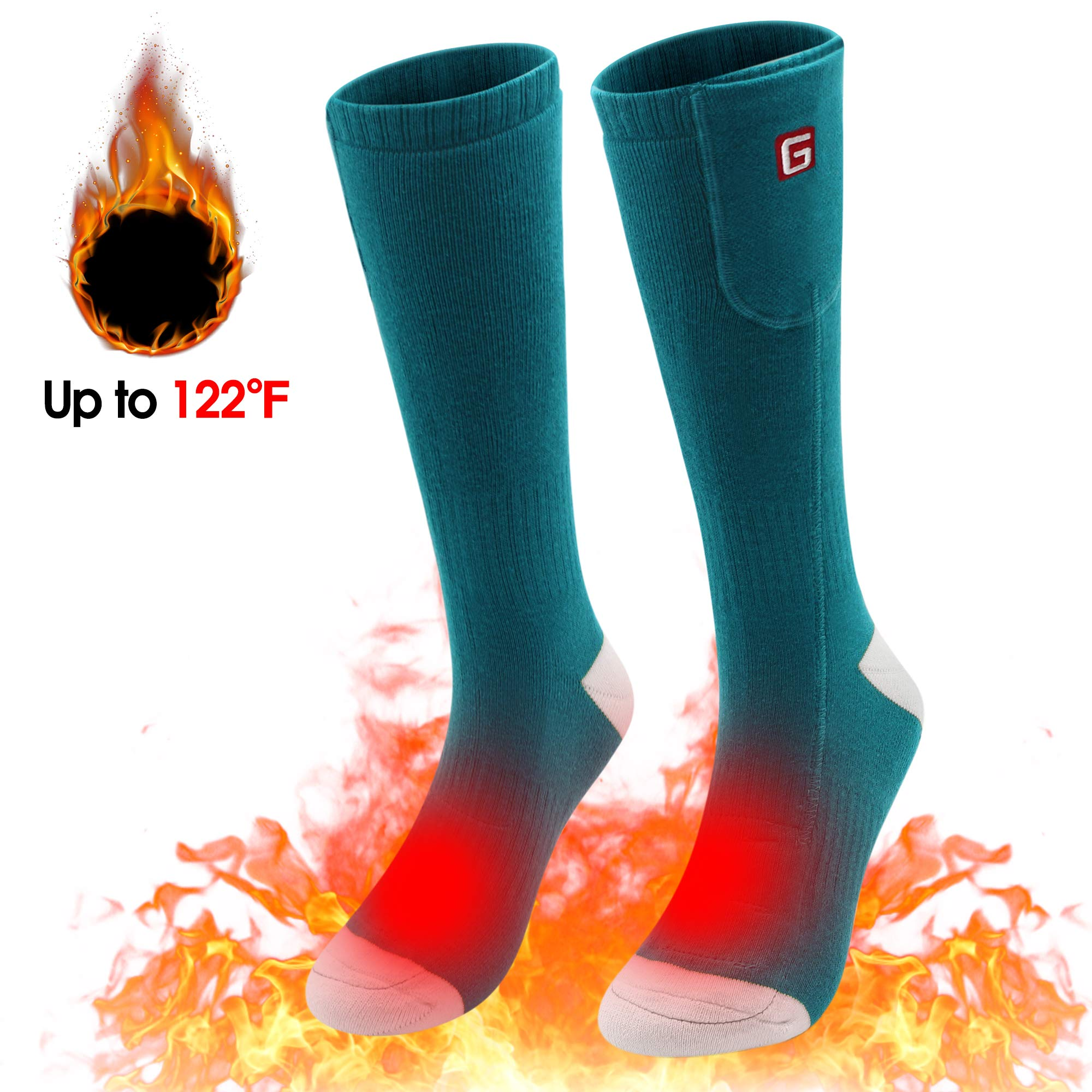 Spring Heated Socks,3.7V 2200MAH Electric Rechargeable Battery Heating Socks for Men Women Warm Cotton Socks Foot Warmer Hot Feet (Green&White) by Unknown