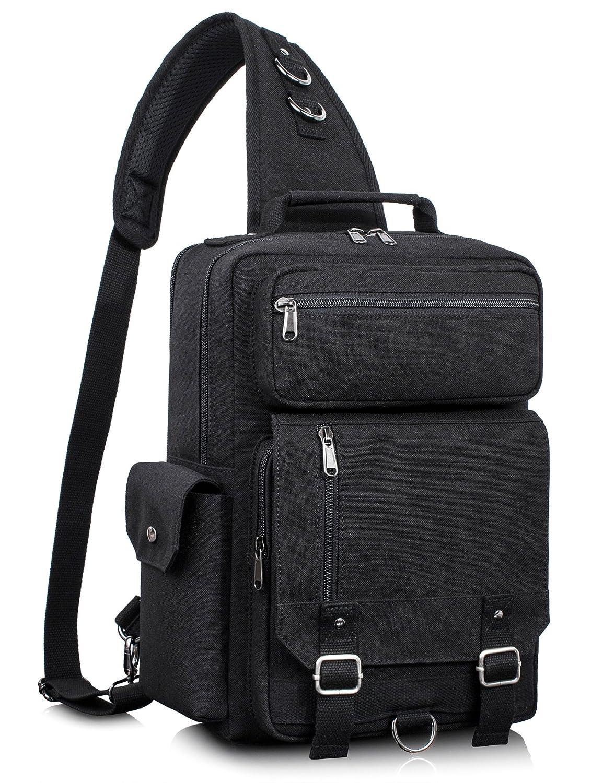 Leaper Messenger Bag Water-Resistant Sling Bag Outdoor Cross Body Bag Black