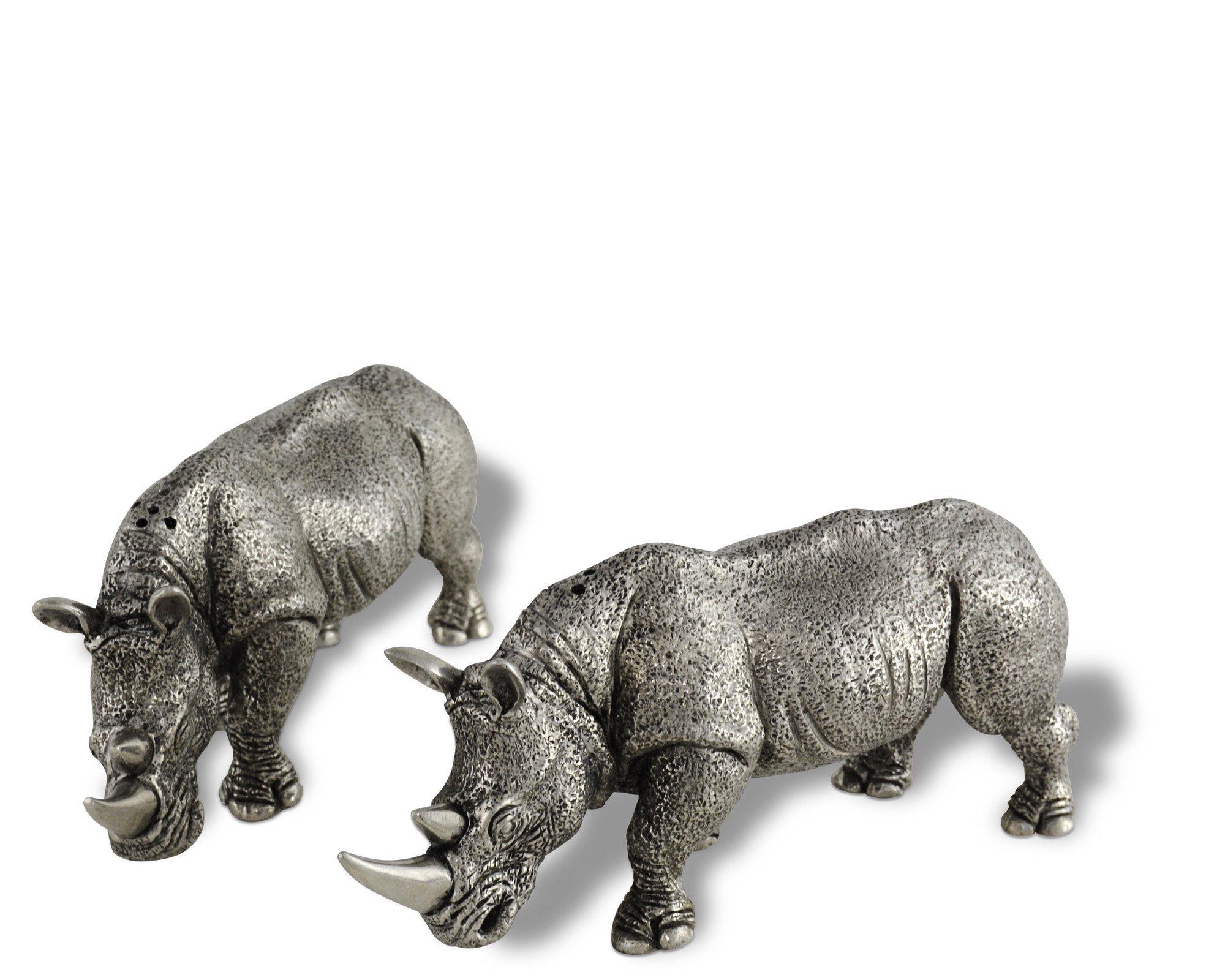 Vagabond House Pewter Rhinos Salt and Pepper Shaker Set 5.75'' Long x 2.5'' Tall