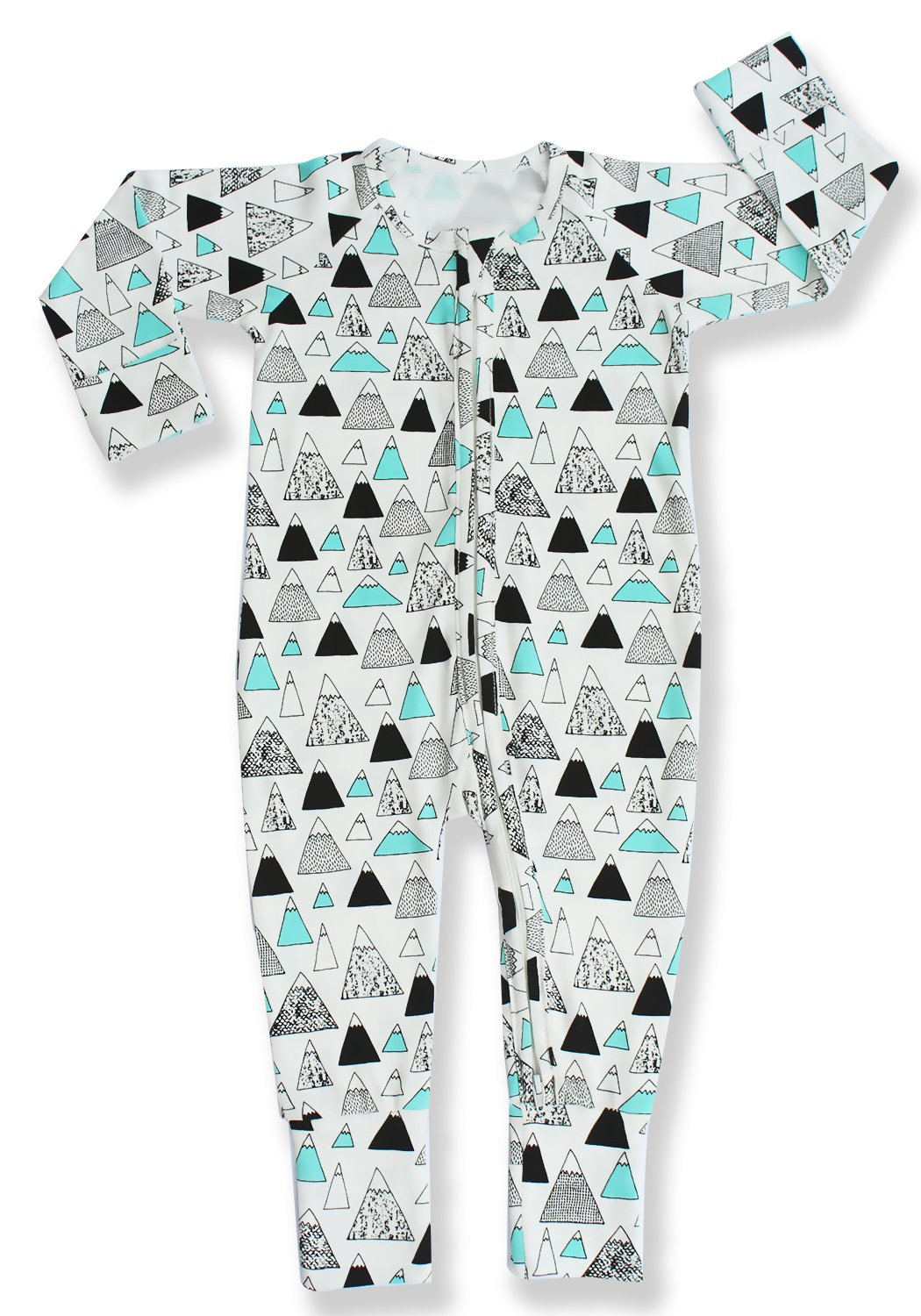 Pajammie Zipsuits Unisex Baby Bamboo and Organic Cotton Sleeper Footie Romper with 2-Way Zip (2T, Mountain Peaks)