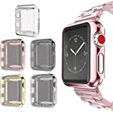 Apple Watch 3 Case 42mm Screen Protector, SIRUIBO Soft Plated TPU Slim All-around Protective Bumper Cover for Apple iWatch Series 3 Series 2 Series 1 Edition Sport Nike+ (5 Pack)
