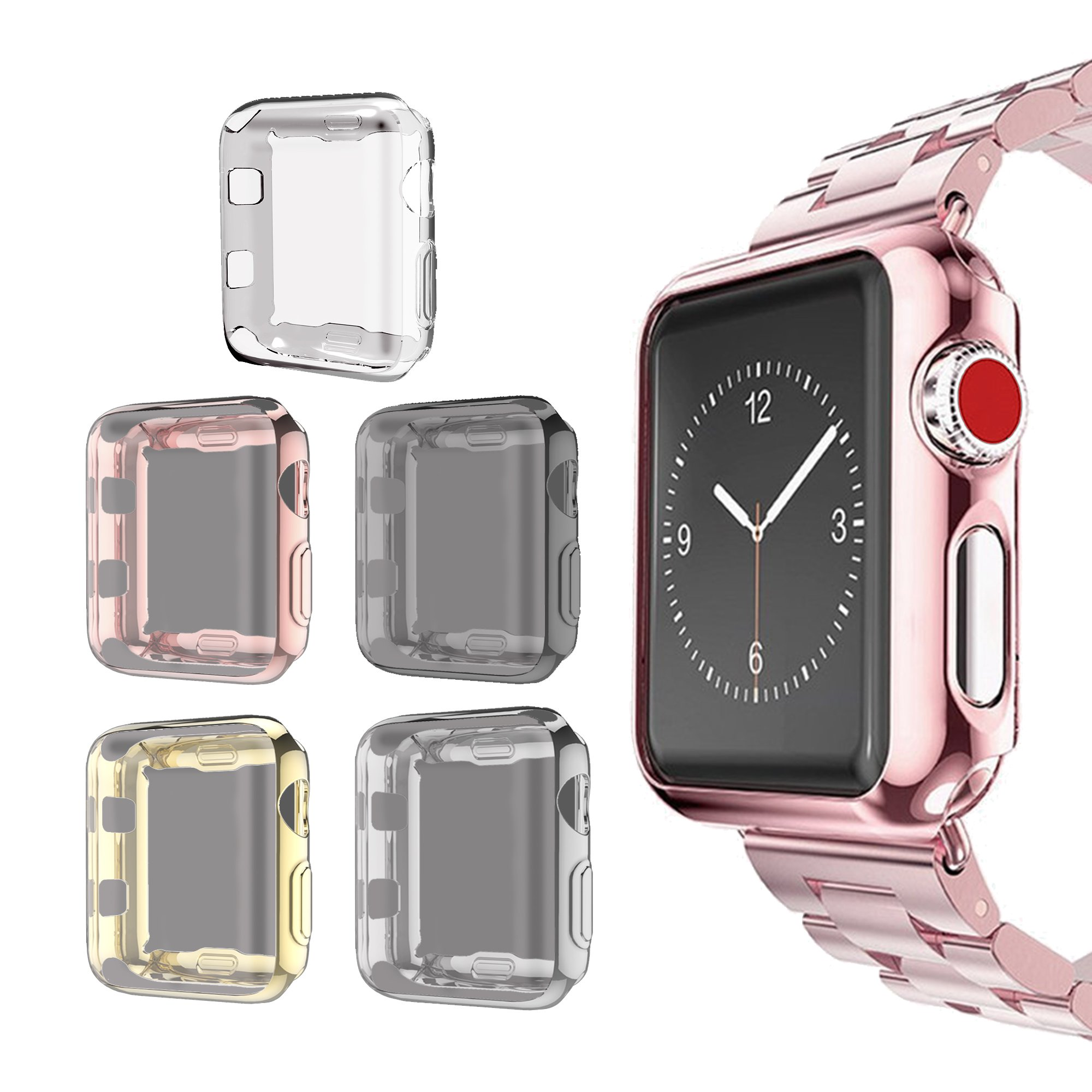 for Apple Watch 3 Case 38mm Screen Protector, SIRUIBO Soft Plated TPU Slim All-around Protective Bumper Cover for Apple iWatch Series 3 Series 2 Series 1 Edition Sport Nike+ (5 Pack)