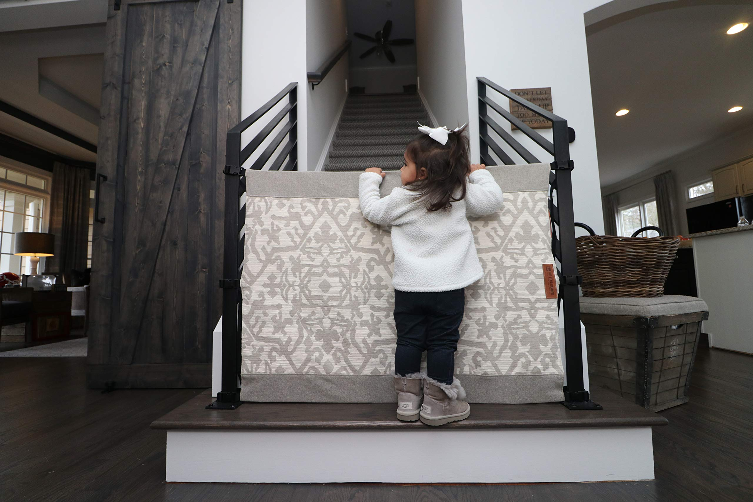 The Stair Barrier Baby and Pet Gate: No-Drill Portable Banister to Banister Baby Gates & Travel Bag - Safety Gates for Kids or Dogs - Fabric Baby Gate for Stairs with Banisters, New 2019 by THE STAIR BARRIER KEEPING CHILDREN AND PETS OFF THE STAIRS (Image #4)