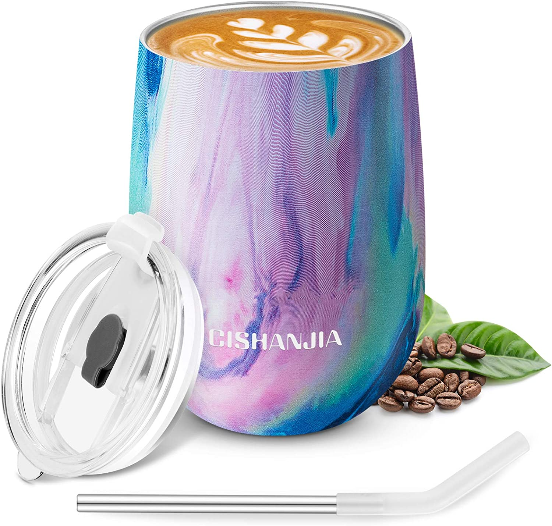 CISHANJIA Termo Cafe 360ml, Taza Térmica de Viaje Reutilizable de Acero Inoxidable con Aislamiento al Vacío con Tapa Ecológica a Prueba de Derrames, sin BPA, Taza de Café, Peso Ligero (arcoiris)