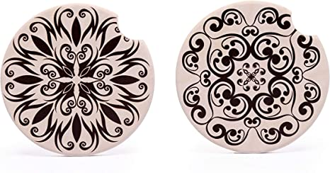 """Car Cup Holder Accessories Absorb Water Drops to Keep Your Car Cup Holders Clean and Dry-2 Pack Sun Flower YSAGi Car Coasters 2 Pack 2.56/"""" Diameter Absorbent Stone Coaster for Drinks"""
