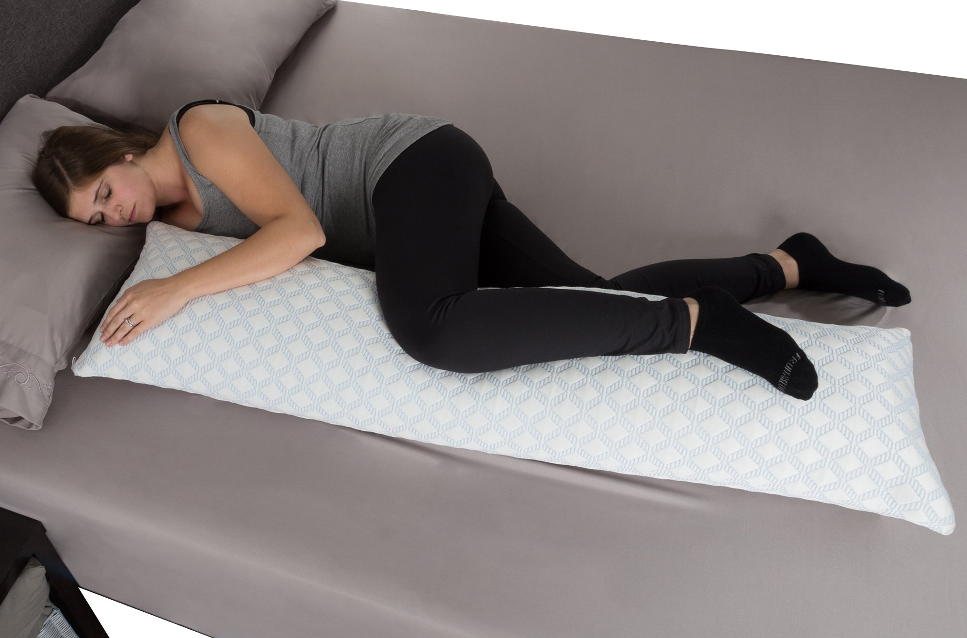 Lavish Home Memory Foam Body Pillow- Stay Cool Cover Specially Designed Cooling Relief for Side, Stomach, Back Sleepers and Pregnant Women by