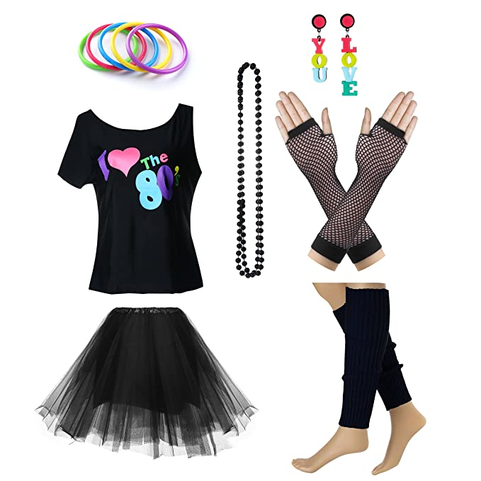 1c18d29d1fc Image Unavailable. Image not available for. Colour  Women s I Love The 80 s  T-Shirt 80s Outfit accessories