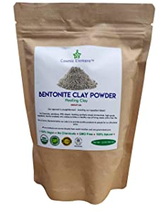 Cosmic Element Bentonite Clay Powder 100% Pure & Unrefined 12 Ounce Premium Food Grade Calcium Bentonite Fuller's Earth Clay - Heavy Metal Detox and Cleanse Natural Face Mask for Deep Pore Cleansing