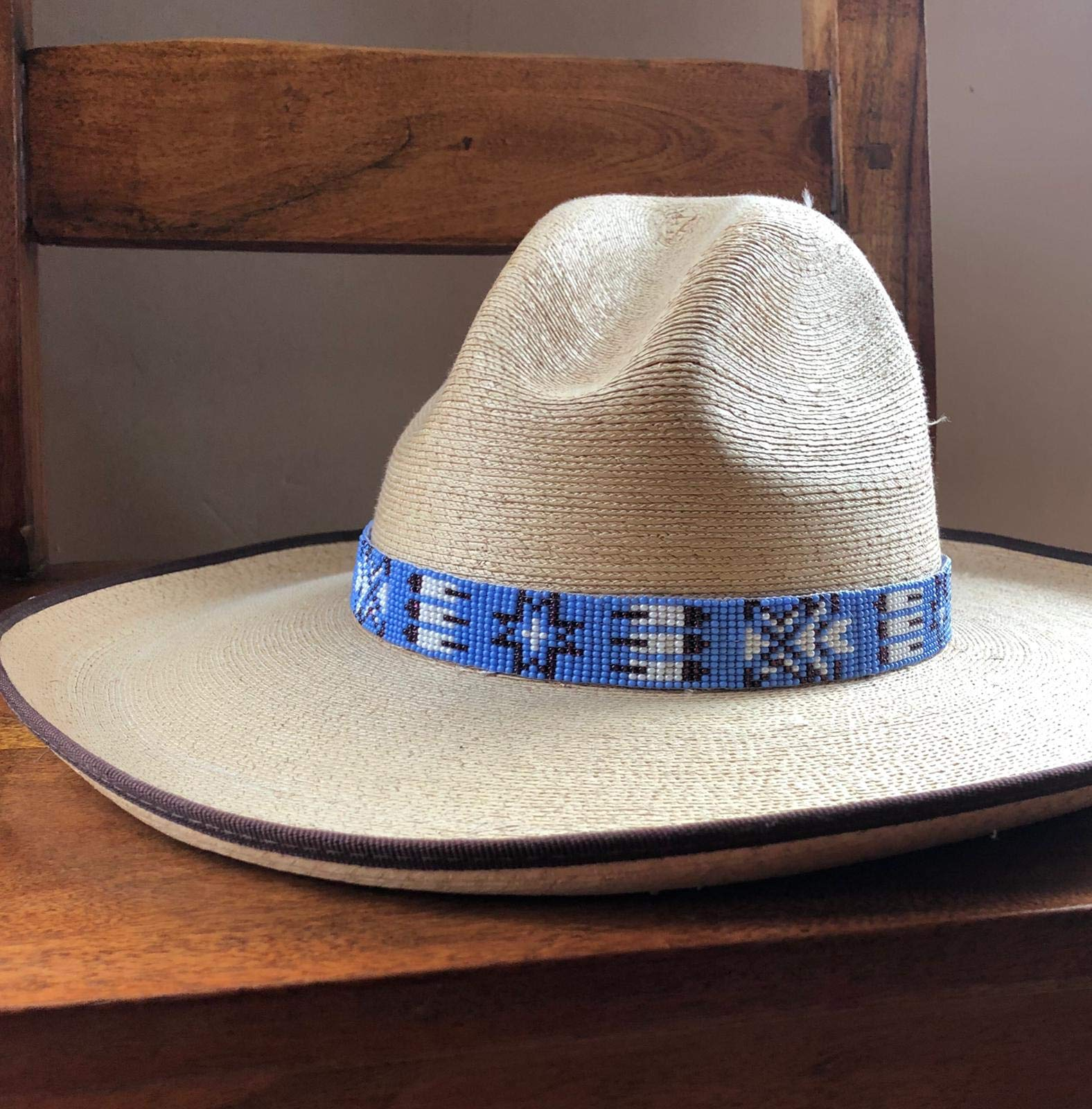 Mayan Arts Hat Band, Hatbands for Men and Women, Leather Straps, Cowboy Beaded Bands, White, Blue Paisley, Handmade in Guatemala 7/8'' X 21'' by Mayan Arts (Image #2)