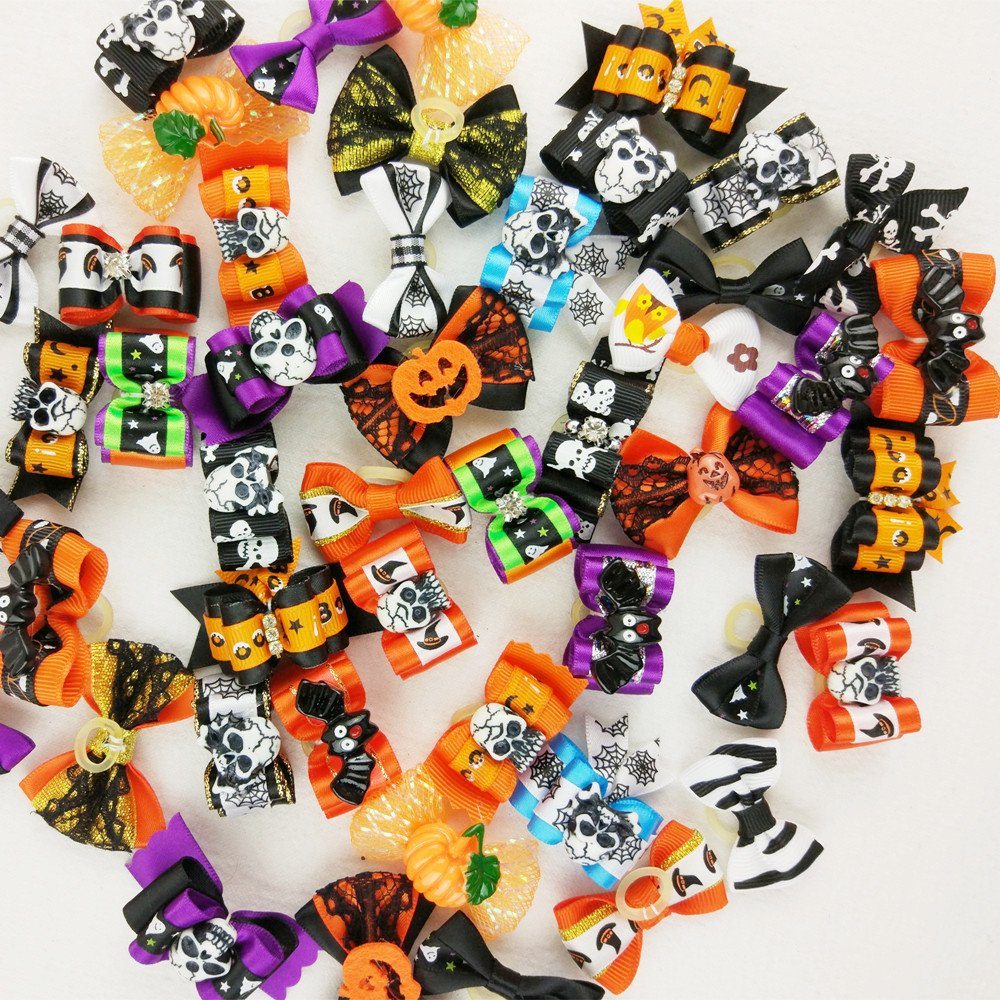 Hixixi 50pcs/pack Pet Dog Cat Halloween Hair Bows Rhinestone Puppy Grooming Bows Hair Accessories Rubber Bands