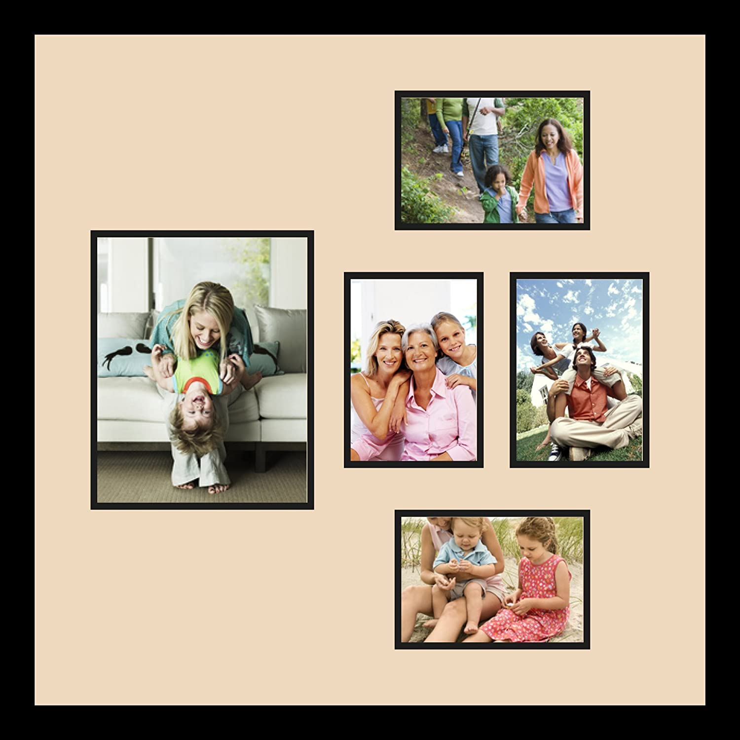 Art to Frames Double-Multimat-332-783//89-FRBW26079 Collage Photo Frame Double Mat with 1-8x10 and 4-5x7 Openings and Satin Black Frame