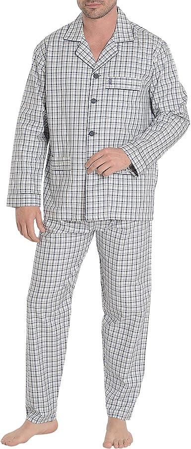 El Búho Nocturno - Pijama Hombre Largo Solapa Franela o Viyela Pijama Invierno 100% algodón