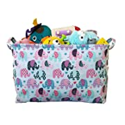 Toy Storage Basket and Canvas Box Organizer with Elephant Prints for Kids Toys and Nursery Storage, Baby Hamper,Book Bag, Laundry Clothing Bin and Baby Shower Gift