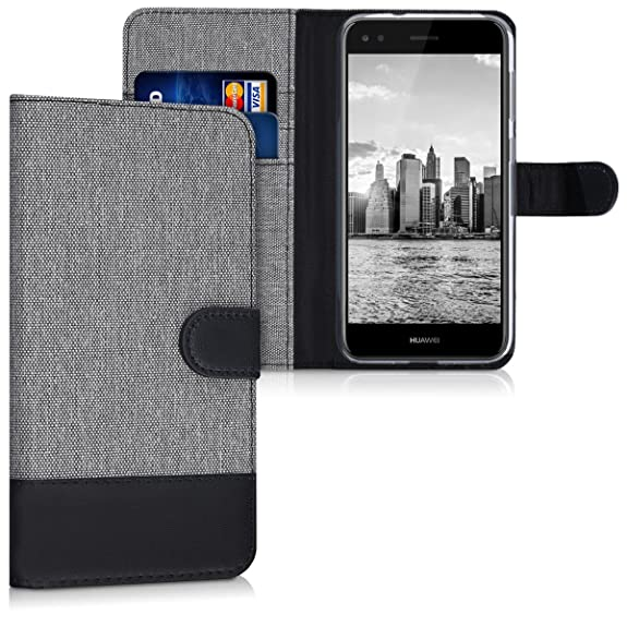 Kwmobile Wallet Case Canvas Cover For Huawei Y6 Pro 2017 Enjoy 7 Flip Case With Card Slot And Stand In Grey Black