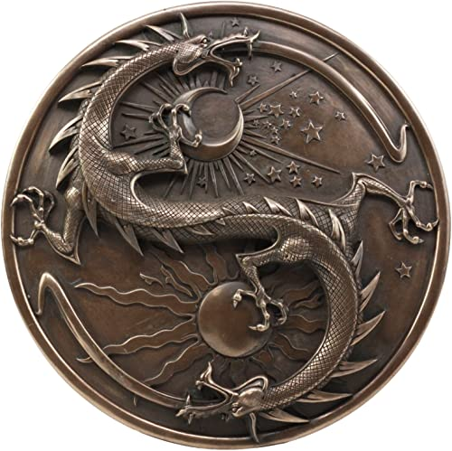 Double Dragon Alchemy in Robust Yin Yang Astrology Fusion Wall Plaque Sculpture Day And Night Dragon Round Medallion Wall Decor